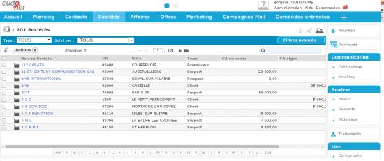 Liste sociétés - Eudonet xRM